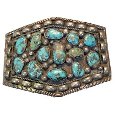 Vintage Stover Paul Navajo Sterling and Turquoise Belt Buckle dated 1975