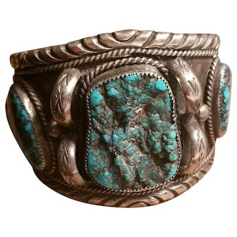 Massive Early Navajo Natural Morenci Turquoise Sterling Silver Cuff Bracelet