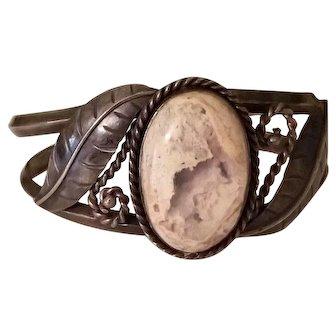 Vintage Boulder Opal Navajo Cuff Bracelet Sterling Silver