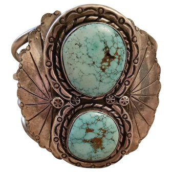 Superb Vintage Double Turquoise Native American Sterling Cuff Bracelet