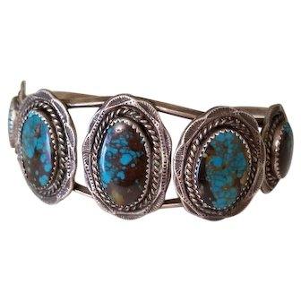 Fabulous Vintage Sterling and Turquoise 5 Stone Navajo Cuff Bracelet