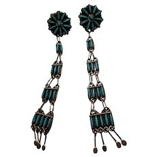 Stunning Sterling Silver & Turquoise Petit Point Zuni Native American Earrings Signed