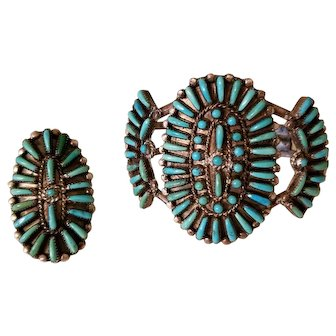 Old Pawn Sterling Silver Petit Point Turquoise Zuni Bracelet and Ring by D&V Dewa