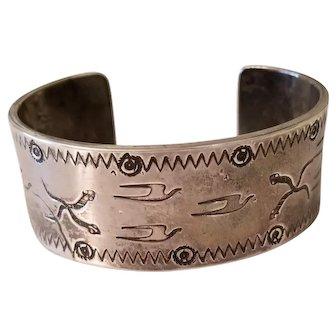 Heavy Vintage Sterling Silver Southwestern Cuff Bracelet