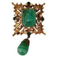 Vintage Florenza Green Stone and Pearls Dangle Brooch Pendant