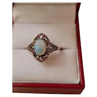 Vintage Opal and Ruby 9K Filigree Yellow Gold Ring