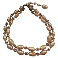 Miriam Haskell Baroque Pearl Double Strand Choker Necklace