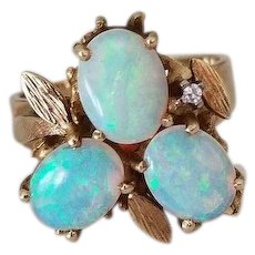 Fiery Vintage 14k Gold, Diamond and Opal Ring