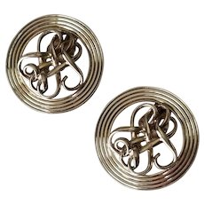 Vintage Classic Sterling Silver Clip on Statement Earrings