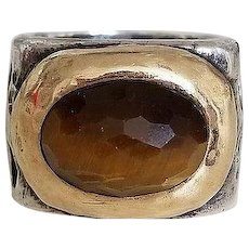 Stunning Chunky Sterling Silver & Gold Tiger Eye Dian Malouf Ring size 8