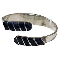 Vintage Taxco Mexico Lapis Lazuli and Sterling Silver Clamper Bracelet