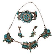 Signed BW Zuni Needlepoint Turquoise & Sterling Silver Bracelet, Necklace and Earrings Set