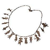 Vintage Native American Tribal Dancers Sterling Silver Necklace