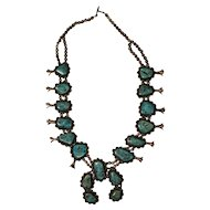 Massive Early Vintage Squash Blossom and Turquoise Necklace