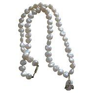 Vintage 14k Gold & Diamond Pearl Necklace Pendant