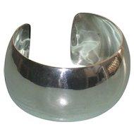 Sleek Wide Vintage Sterling Silver Cuff Bracelet