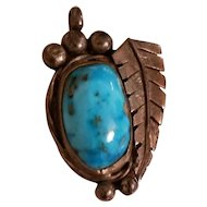 Old Pawn Navajo Morenci Turquoise and Sterling Silver Pendant