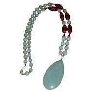 Extraordinary Jade & Cinnabar Necklace with 14k Gold Accents