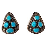 Vintage Southwestern Turquoise and Sterling Silver Navajo Earrings
