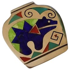 Vintage Sterling Silver Inlaid Zuni Bear Pendant Brooch signed Laconsello