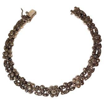 Vintage Sterling Silver and Marcasite Flowers Bracelet