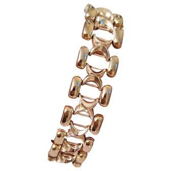 Sleek Vintage Milor Italy Sterling Silver Wide Link Bracelet