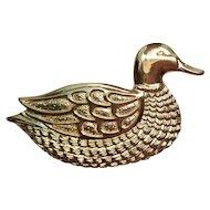 Vintage Douglas Paquette Gold Tone Buckle Mallard Duck