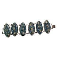 Vintage Mid Century Lucite Nautical Seashells Link Bracelet