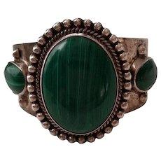 Stunning Vintage Signed Taxco Sterling Silver Malachite Cuff Bracelet