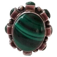 Vintage Malachite and Sterling Silver Signed Ring
