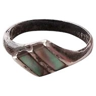 Sweet Vintage Modernist  Abalone and Sterling Silver Ring Mexico