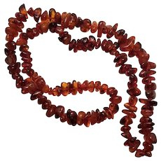 Vintage Amber Natural Graduated Bead Necklace