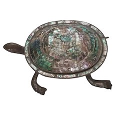 Huge Hand Wrought Mid Century Modern Abalone Taxco Mexico Tortoise or Sea Turtle with Lid