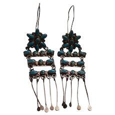Vintage Zuni Sterling Silver & Turquoise Petit Point Dangle Drop Earrings