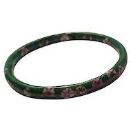 Vintage Deep Green Cloisonne Bangle Bracelet with Floral Design