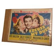 Vintage 1951 MGM Movie Poster Excuse My Dust Red Skelton