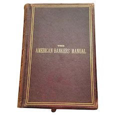 Antique Leather Bound Book 1883 The Bankers Manual State Laws