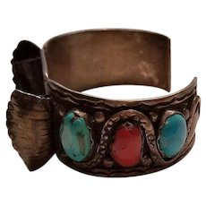 Vintage Native American Zuni Sterling Silver Watch Band with Snake Design, Coral and Turquoise