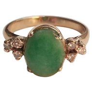 Vintage 21K Yellow Gold and Jade with Diamonds Ring