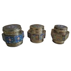 Set of Three Vintage Chinese Enamel Covered Boxes
