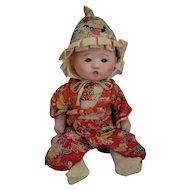 Vintage Chinese Doll Little Girl, Glass Eyes