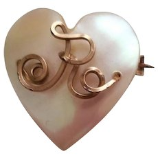 Victorian Mother of Pearl Heart Pin Brooch Letter R