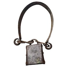 Very Old Hand Forged Sheep or Goat Livestock Farm Bell with Collar signed