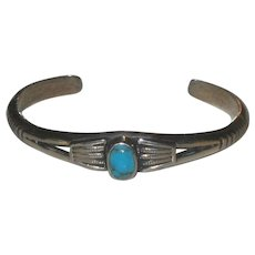Vintage Southwest Sterling Silver and Turquoise Cuff Bangle Bracelet