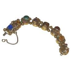 Vintage Jeweled Chinese Revival Style Winged Draqon's Slide Bracelet
