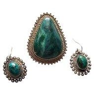 Sterling Silver & Eilat Stone Filigree Earrings Israel