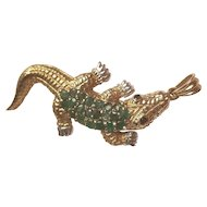 10k Yellow Gold, Emerald Alligator Pendant or Brooch