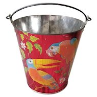 Vintage 1960's Ohio Art Sand Pail Birds