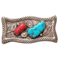 Zuni Mike Simplicio Belt Buckle Cast Sterling Silver Coral and Turquoise