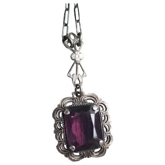 Vintage Sterling Silver Filigree Pendant Necklace with Fancy Clasp and Amethyst Stone